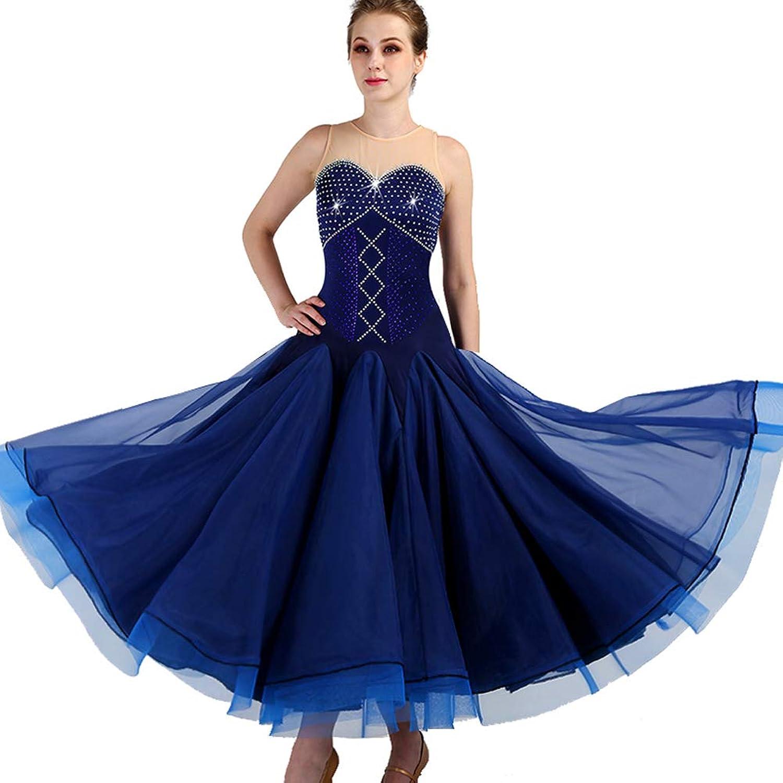National Standard Ballroom Dance Sleeveless Big Swing Skirt Diamonds Adult Modern Competition Costume Dress