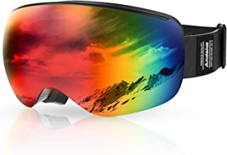 Andake OTG Ski Goggles Frameless Interchangeable Lens Spherical Design Over Glasses Ski Snowboard Goggles Anti-Fog UV 400 Protection Snow Goggles Winter Outdoor Sports Protective Glasses