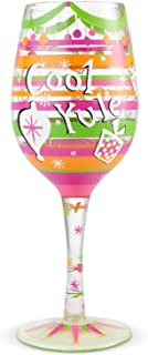 Enesco 6004432 Designs by Lolita Cool Yule Hand-Painted Artisan Wine Glass, 15 Ounce, Multicolor