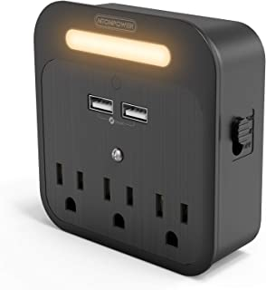 Multi Plug Outlet Extender, NTONPOWER 3 AC Outlets Surge Protector with 2 USB Ports Wall Outlet, Dusk-to-Dawn Sensor Night...