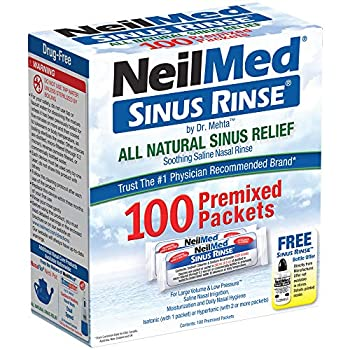 NeilMed Sinus Rinse All Natural Relief Premixed Refill Packets  1 Pack of 100