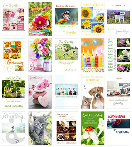 Edition Seidel Set 20 exklusive Premium Geburtstagskarten mit Umschlag. Glückwunschkarte Grusskarte zum Geburtstag. Geburtstagskarte Mann Frau Happy Birthday Billet