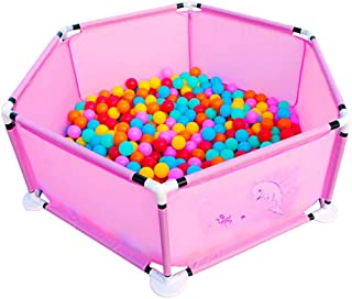 Baby Playpen Fence Anti-Fall Basketball Hoop Playard Ball Pit With Sturdy Bases Hexagonal Infant Playpen For Beach Backyard Park Room Kids Babies Products  Color Pink