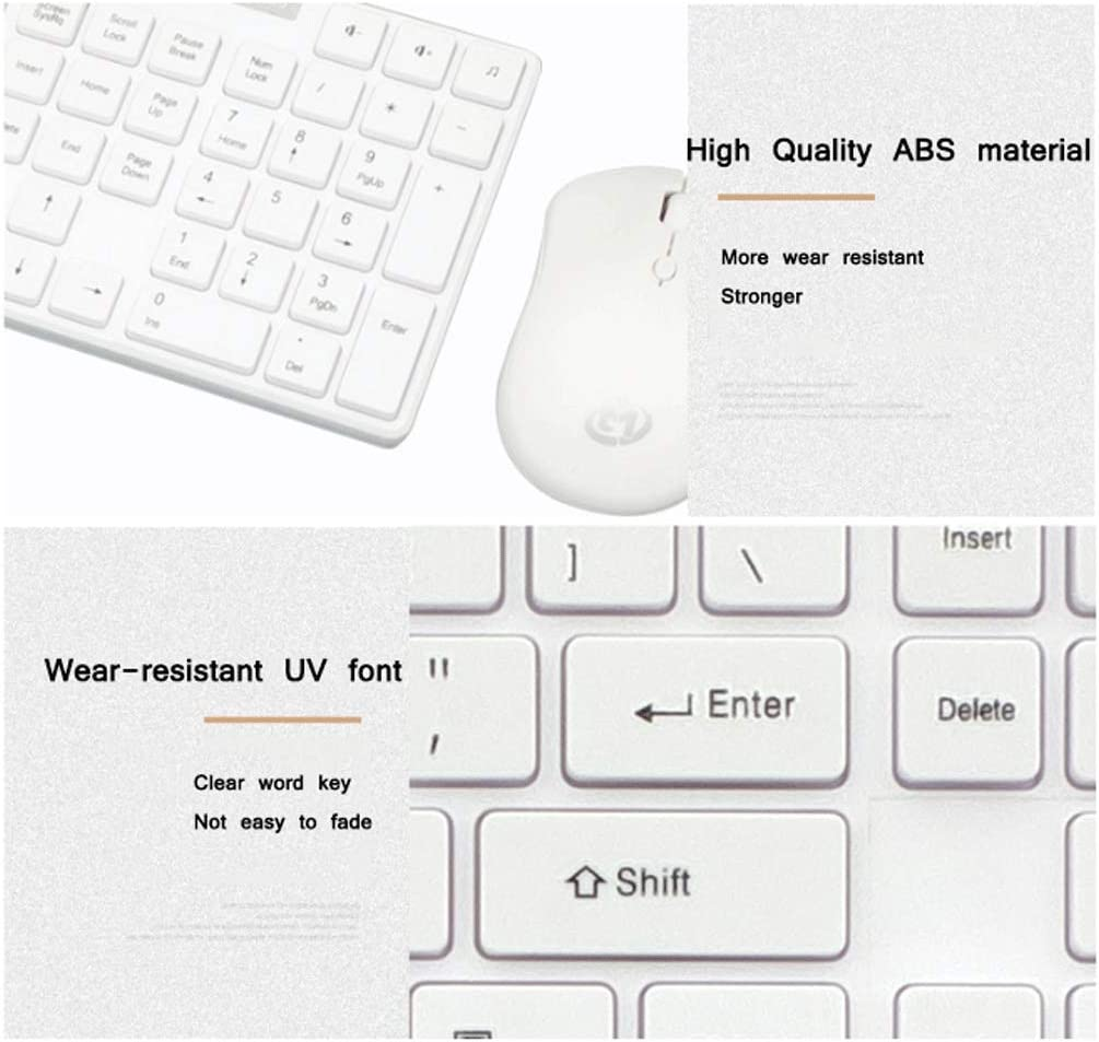 Smart Wireless Keyboard and Mouse Set Notebook External Desktop Computer Office Home Power Saving Simple Style Color : Elegant Pink