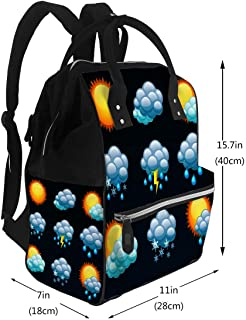 Diaper Backpack Bags Weather Forecast Icons Travel Nappy Bags