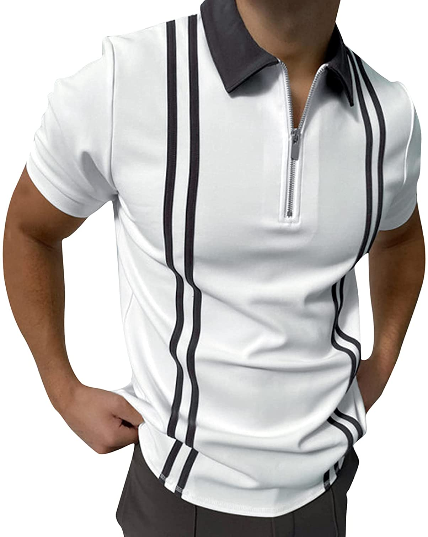 xoxing Short Sleeve for Men Plus Size Casual Loose V-Neck Zipper Turn-Down Collar Splice Polos Shirt Blouse