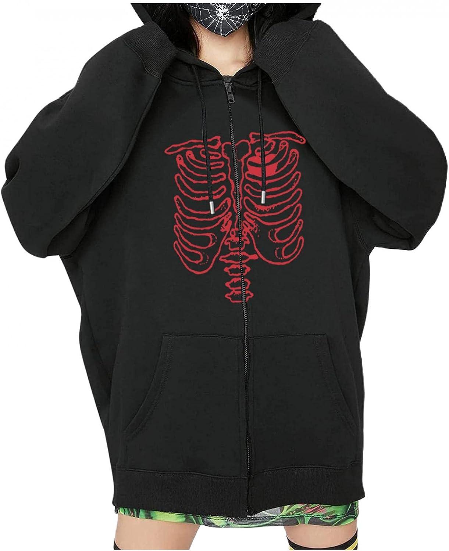 UOCUFY Halloween Hoodies for Women, Womens Oversized Sweatshirt Y2k Skeleton Zip Up Graphic Pullover Jacket with Pockets