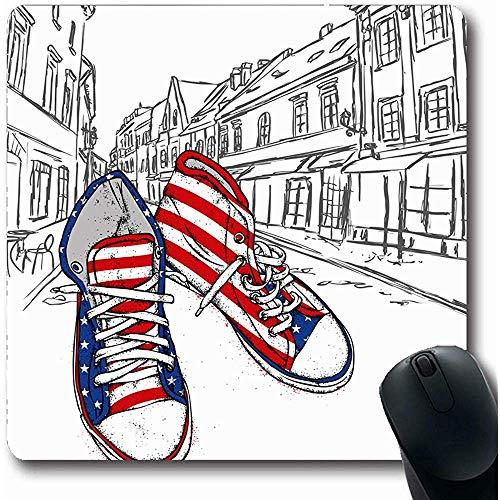 Mousepads moderne activiteit Handgetekende Sneakers Atlete Atletisch Canvas Casual Ontwerp Oblong vorm 18X22Cm anti-slip Gaming Mouse Pad