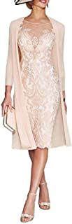 kxry Women's Lace Two Pieces Mother of The Bride Dresses Tea Length with Jacket