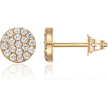 PAVOI 14K Gold Plated Sterling Silver Post Stud Earrings for Women | Pave CZ Mini Disc | Gold Earrings for Women