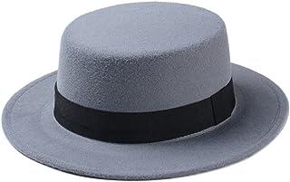 fd9f7c277d9182 Vintage Women Lady Wool Felt Floppy Wide Brim Fedora Bowler Flat Top Hat  Cap(57