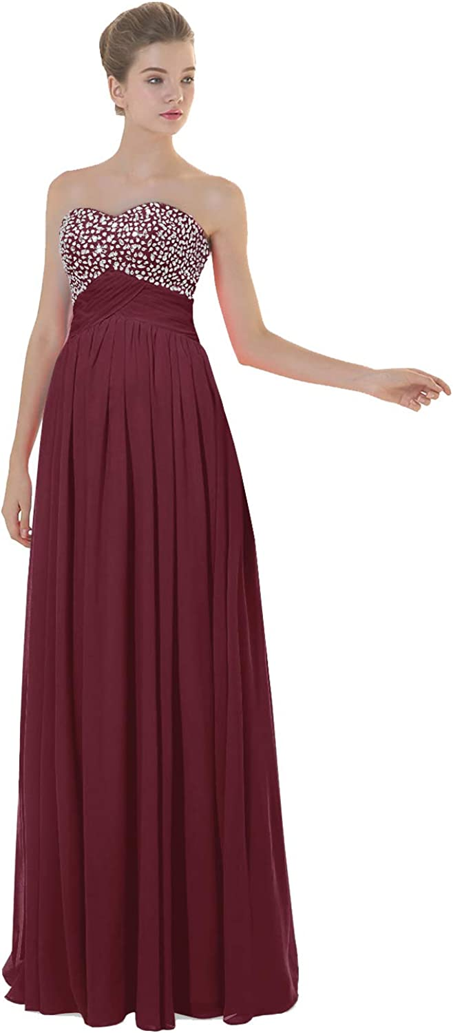 ANGELWARDROBE Empire Beaded Sweetheart Neck Prom Gowns Long Evening Dresses Party Skirts