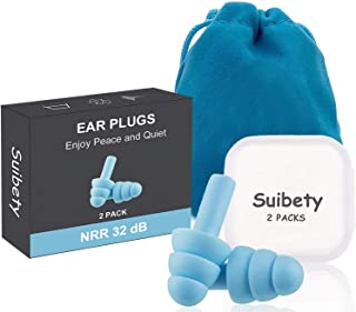 Ear Pugs for Sleeping, 2 Pairs Noise Cancelling Sound Blocking Earplugs Reusable Noise..