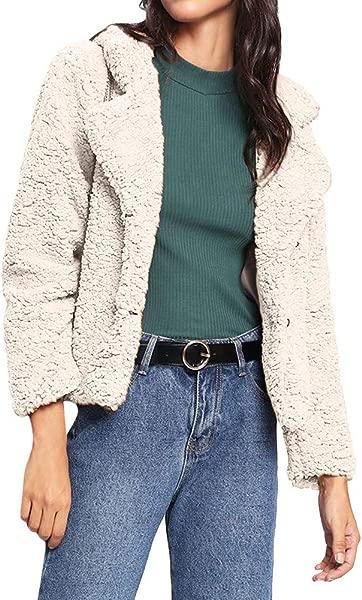SADUORHAPPY Women S Fashion Long Sleeve Lapel Faux Shaggy Plus Sized Coat Jacket With Pockets Warm Winter