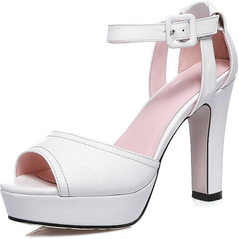 AmoonyFashion Women's Buckle Peep Toe High Heels PU Solid Sandals