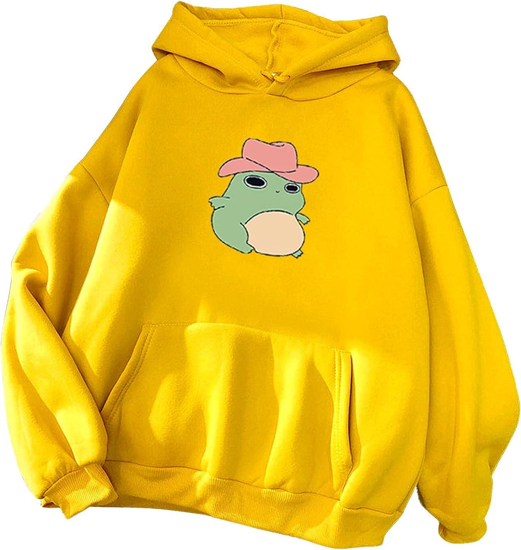 Hotkey Pullovers for Women, Women's Fashion Drawstring Hoodies Cartoon Frog Printed Hooded Active Tops Sweatshirts