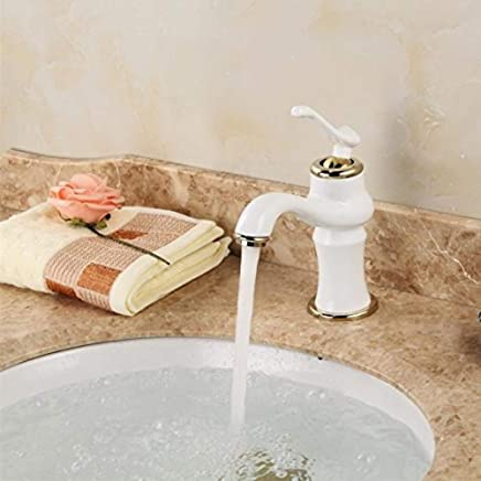Water Tap Basin White Paint Single Hole Hot and Cold All Copper Plated gold Modern Taps Kitchen Brass Faucet Bathroom Sink Waterfall Tap Mixer Water Washroom Bath Tub Shower