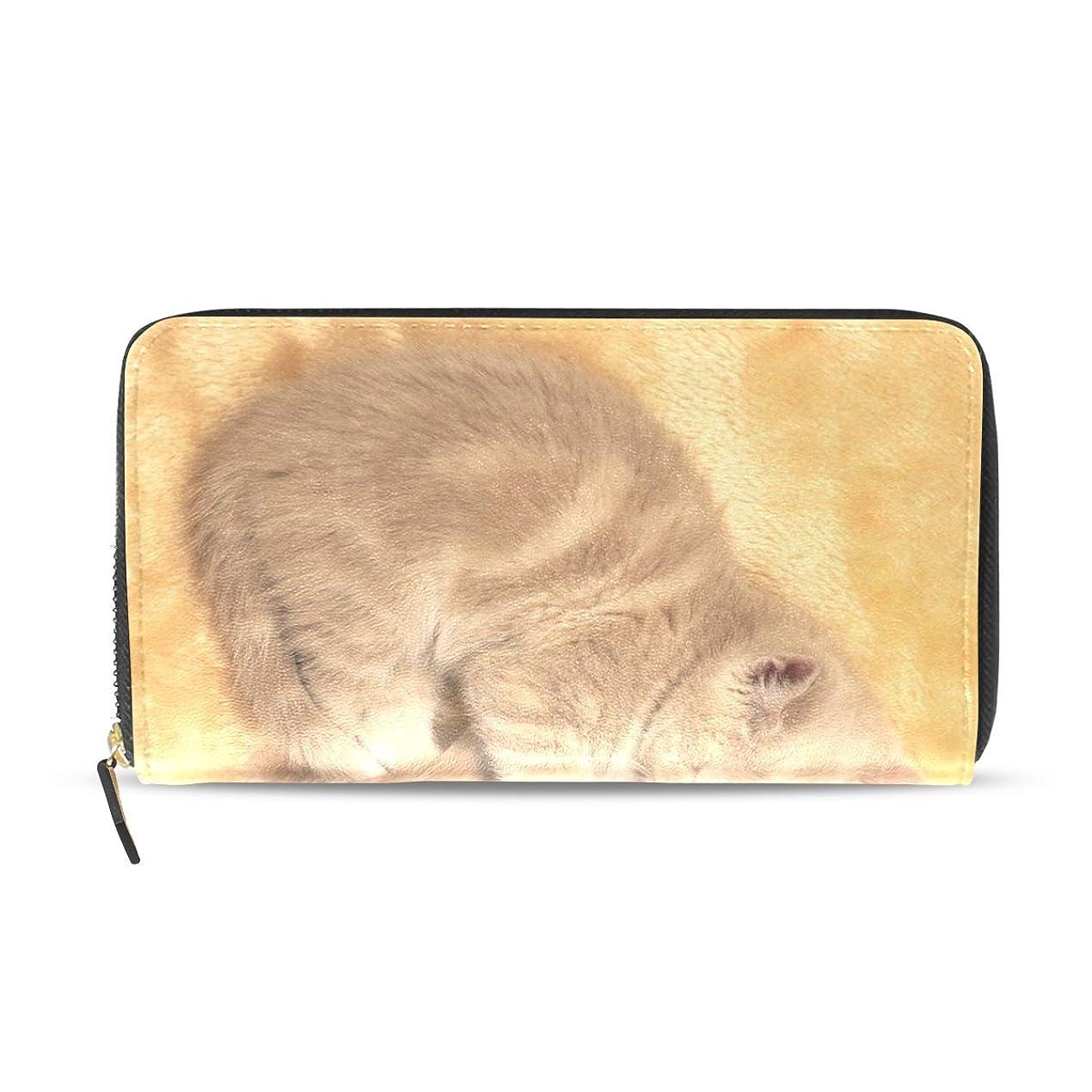 偽造頭痛降伏GORIRA(ゴリラ) 心形 お互い抱く二つ猫 長財布 レディース ダブルサイド印刷 ファスナー開閉式 ウォレット
