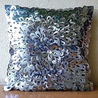"Handmade Silver Accent Pillows, 3D Textured Sequins Flower Glitter Floral Theme Pillows Cover, 16""x16"" Cushion Covers, Square Silk Pillowcase, Floral Modern Pillows Cover - Metallic Floral"