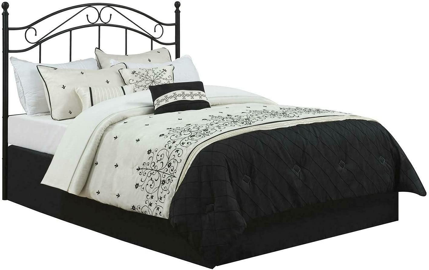 ADHW Max 85% OFF Full Queen Al sold out. Metal Headboard Traditio Bed Vintage Black Frame