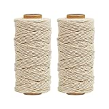 (1MM, 656FT) - Tenn Well Cotton Twine, 100M x 2 Rolls 3ply Bakers String for Cooking Tying Poultry Meat Making Sausage DIY Crafts (White)