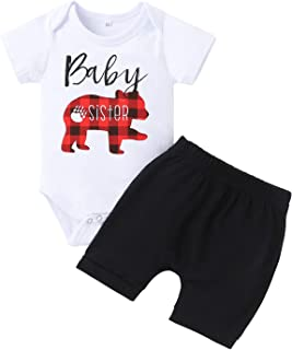Sponsored Ad - Kionio Baby Girl Clothes Romper Bodysuit White Sleeve Black Shorts Toddler Outfits 2PCS Infant Sets Summer