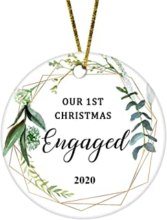 Best JUPPE Our First Christmas Engaged Ornament Mr & Mrs Newlywed Decoration Romantic Couples Gift (White-2) Review