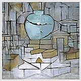 1art1 Piet Mondrian Póster Impresión Artística con Marco (Plástico) - Naturaleza Muerta con Jarro De Jengibre, 1912 (40 x 40cm)