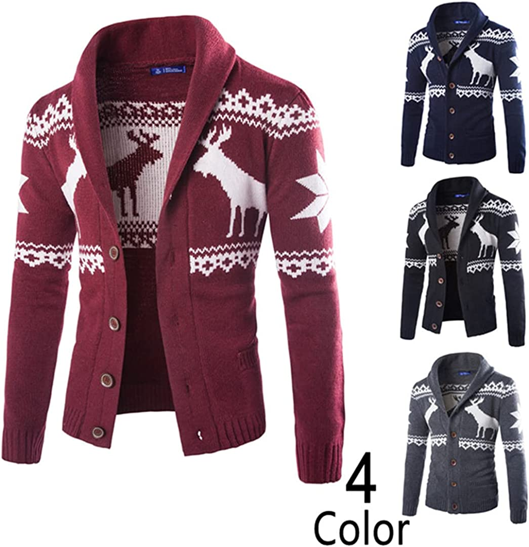 Men Wool Cardigans Sweater Autumn Winter Thick Kintwear Pullover Christmas Sweaters