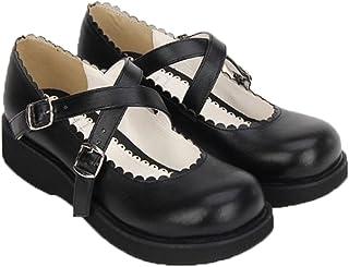 [トンデムン] ロリータパンプス ロリータ 靴 可愛い ヒール5cm ロリータ靴 LOLITA 丸トウ ゴスロリ ロリィタ靴 厚底 お嬢様風 姫系 メイド靴 ブラック 小悪魔