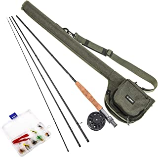Goofly 9' Fly Fishing Rod and Reel Combo with Carry Bag 10 Flies Complete Starter Package Fly Fishing Kit