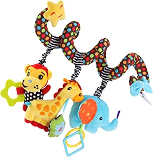 TOYANDONA Car Seat Toys, Baby Activity Spiral Plush Stroller bar Toy Accessories, Crib Toys for boy or Girl, Hangings Ratt...