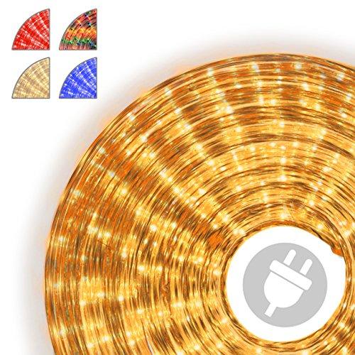 Nipach GmbH 10m Microlichter Lichterschlauch Lichtschlauch gelb – Innen- und Außenbereich – Licht-Dekoration für Garten Fest Weihnachten Hochzeit Gesamtlänge ca. 11,50 m