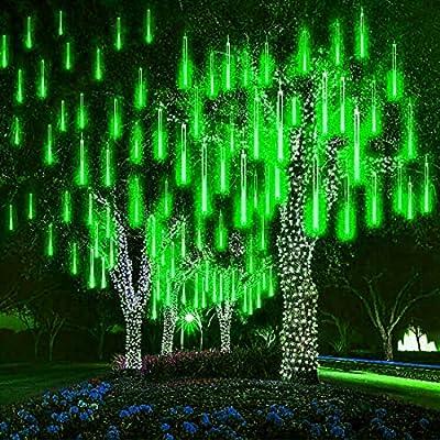 MUEQU Solar Light Outdoor, Waterproof Christmas String Lights Solar LED Meteor Shower Rain Lights Falling Raindrop Light 8Tubes 288LED Fairy Lights for Xmas Tree Garden Party Decor (Green)