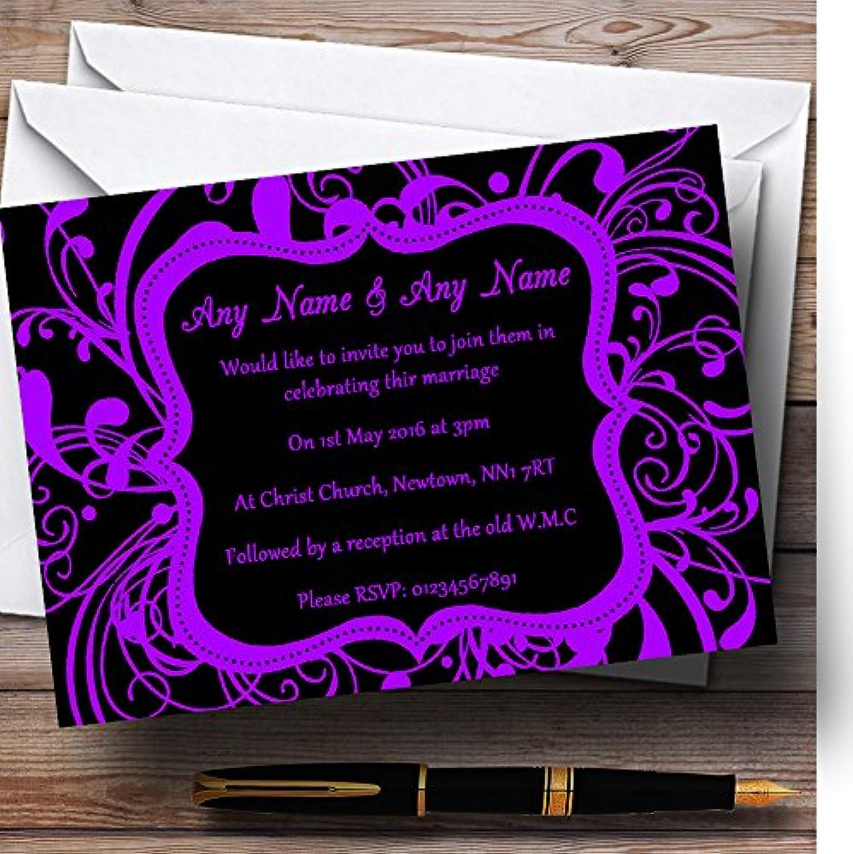 Black & Purple Swirl Deco Personalised Evening Reception Invitations   Invites & Envelopes