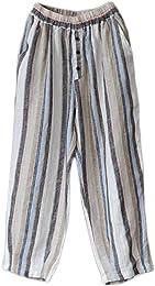 Femme Pantalon Large Jambe Lin Rayures Sarouel Amp
