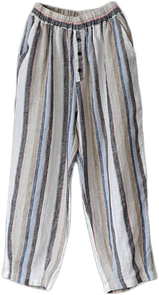 LaovanIn Women's Limited price sale Striped Wide-Leg Cropped Linen Pants Max 57% OFF Hare Capri
