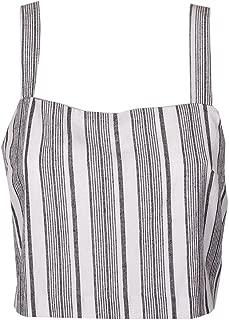 MINKPINK Womens Striped Sleeveless Crop Top