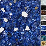 Celestial Fire Glass High Luster, 1/2' Reflective Tempered Fire Glass in Neptune Blue   10 Pound Jar