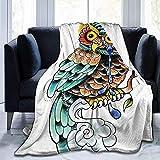 Searster$ Fleece Blanket Mürrische weise Eule-Flanellvlies-Decke Superweiche gemütliche warme Wurfs-Decke Microfleece-Decke für Couch-Ausgangsbettsofastuhl,pflegeleicht,102X127Cm