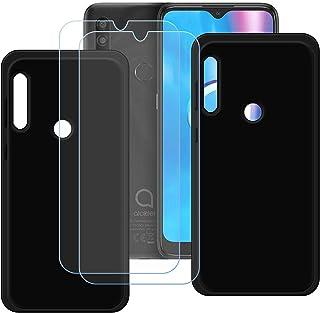 TTJ [2 st. svart fodral för Alcatel 1SE 2020 [2 stycken] HD pansarglas, mobiltelefonfodral silikon skyddande fodral TPU fo...