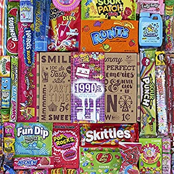 VINTAGE CANDY CO 1990s RETRO CANDY GIFT BOX - 90s Nostalgia Candies - Flashback NINETIES Fun Gag Gift Basket - PERFECT  90s Candies For Adults College Students Men or Women Kids Teens