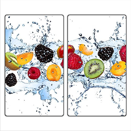 decorwelt | Herdabdeckplatten 2x30x52 cm Ceranfeldabdeckung 2-Teilig Universal Elektroherd Induktion für Kochplatten Herdschutz Deko Schneidebrett Sicherheitsglas Spritzschutz Glas Früchte