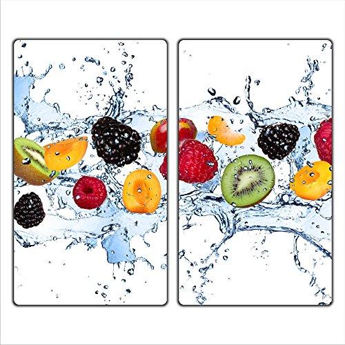 decorwelt   Herdabdeckplatten 2x30x52 cm Ceranfeldabdeckung 2-Teilig Universal Elektroherd Induktion für Kochplatten Herdschutz Deko Schneidebrett Sicherheitsglas Spritzschutz Glas Früchte