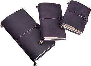 دفتر مذكرات يومية رترو فينتاج بتصميم جلدي عتيق مع قلائد معلقة بشريط مطاطي من الونغلين