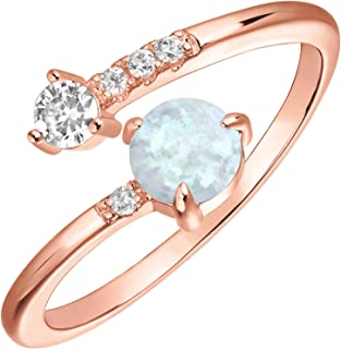 PAVOI 14K Gold Plated Adjustable Created Opal Rings | Stacking Rings | Gold Rings for Women