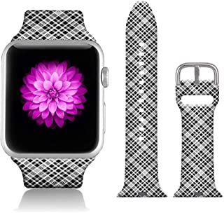 FTFCASE Sport Bands Compatible with iWatch 42mm/44mm Plaid - Grey, Flower Printed Soft Silicone Strap Replacement for iWat...