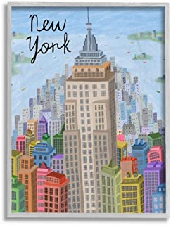 Stupell Industries Colorful New York City Skyline Landmark Architecture, Designed by Carla Daly Wall Art, 16 x 20, Grey Fr...