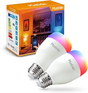 MustWin Smart LED Bulb, E26 7W WiFi Light Bulbs, RGB Color Changing Bulb, A19 WiFi Dimmable Light Bulb, No Hub Required, Compatible with Alexa and Google Assistant (2 Pack) (7W LED)
