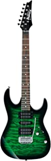 Ibanez 6 String Solid-Body Electric Guitar, Right, Transparent Green Burst (GRX70QATEB)